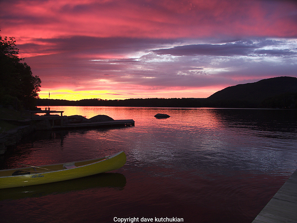 brilliant sunset on peacham pond,vermont no property release