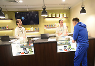From left, Adam Prowell and Josh Reiss help patient Robert Consulmagno at TerraVida Holistic Center, which is one of the first medical marijuana dispensary's in Pennsylvania to open Saturday, February 17, 2018 in Sellersville, Pennsylvania. (WILLIAM THOMAS CAIN / For The Inquirer)