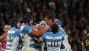 Argentina's Tomas Lavanini and South Africa's Eben Etzebeth having some friendly words during the Rugby World Cup Bronze Final match between South Africa and Argentina at the Queen Elizabeth II Olympic Park, London, United Kingdom on 30 October 2015. Photo by Matthew Redman.