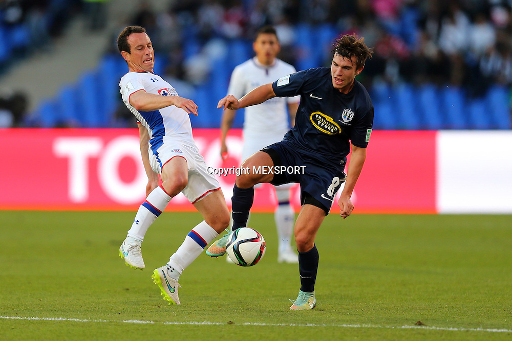 Action photo during the match Cruz Azul (MEX) vs Auckland City (ESP) Reported by the Third Place Club World Morocco 2014 photo: (I) - (D), Gerardo Torrado of Cruz Azul and Tim Payne Auckland City FC<br /> <br /> 12/20/2014 / Matthew Ashton / AMA / Mexsport