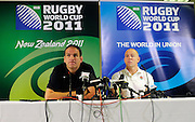Coach Martin Johnson & Mike Tindall of England, during an England Press Conference at Southern Cross Hotel in Dunedin, New Zealand. IRB Rugby World Cup 2011. Thursday 22 September 2011. New Zealand. Photo: Richard Hood/photosport.co.nz