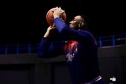 Raphell Thomas-Edwards of Bristol Flyers prepares in the warm up area prior to tip off - Photo mandatory by-line: Ryan Hiscott/JMP - 26/01/2020 - BASKETBALL - Arena Birmingham - Birmingham, England - Bristol Flyers v Worcester Wolves - British Basketball League Cup Final