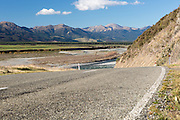 State Highway 7 twists it's way alongside the Waiau River in Canterbury New Zealand