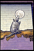 An Armadillo eating the Moon - Detail from mural by Jim Franklin on outside wall of the Armadillo World Headquarters, Austin, Texas, circa 1976.