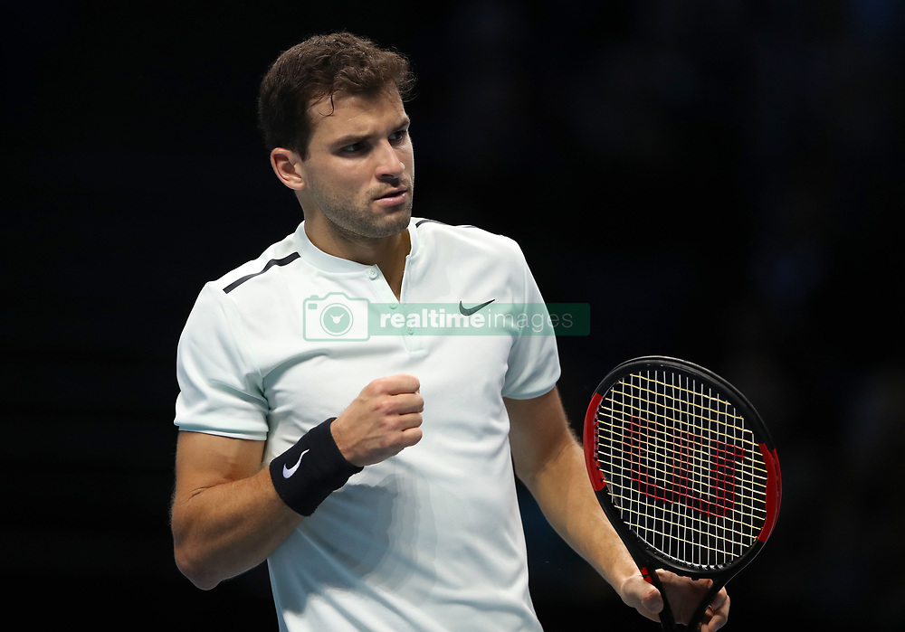 Grigor Dimitrov reacts during his singles match against Dominic Thiem during day two of the NITTO ATP World Tour Finals at the O2 Arena, London.