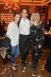 Left to right, LEAH WOOD, JULIE BRANGSTRUP and JO WOOD at the Cash & Rocket Tour Announcement Launch Lunch in association with McArthur Glen was held at The Grill, The Dorchester, Park Lane, London on 12th March 2015.