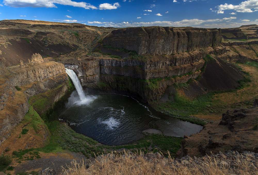 Palouse Falls in Southeastern Washington as it approaches sunset on a warm late Spring day.