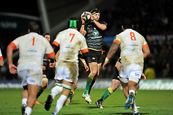 Tom Wood of Northampton Saints receives the ball - Photo mandatory by-line: Patrick Khachfe/JMP - Mobile: 07966 386802 13/12/2014 - SPORT - RUGBY UNION - Northampton - Franklin's Gardens - Northampton Saints v Treviso - European Rugby Champions Cup