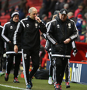 Cardiff City Manager, Russell Slade in conversation during half time during the Sky Bet Championship match between Charlton Athletic and Cardiff City at The Valley, London, England on 13 February 2016. Photo by Matthew Redman.