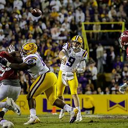 Nov 3, 2018; Baton Rouge, LA, USA; LSU Tigers quarterback Joe Burrow (9) throws against the Alabama Crimson Tide during the third quarter at Tiger Stadium. Mandatory Credit: Derick E. Hingle-USA TODAY Sports