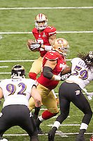 3 February 2013: Quarterback (7) Colin Kaepernick of the San Francisco 49ers drops back to pass against the Baltimore Ravens during the first half of the Ravens 34-31 victory over the 49ers in Superbowl XLVII at the Mercedes-Benz Superdome in New Orleans, LA.