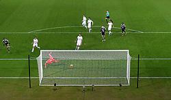 Riyad Mahrez of Leicester City scores his hat-trick.  - Mandatory byline: Alex James/JMP - 05/12/2015 - Football - Liberty Stadium - Swansea, Wales - Swansea City v Leicester City - Barclays Premier League