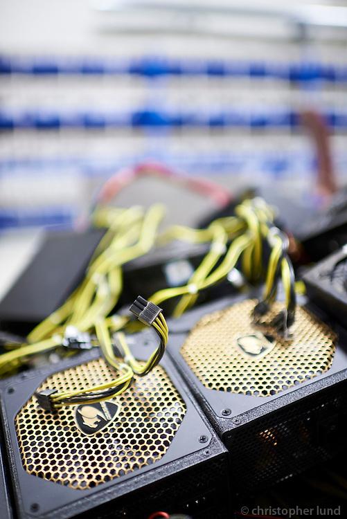 Computer parts at Genesis Mining Bitcoin mining facility, Keflavík Iceland.
