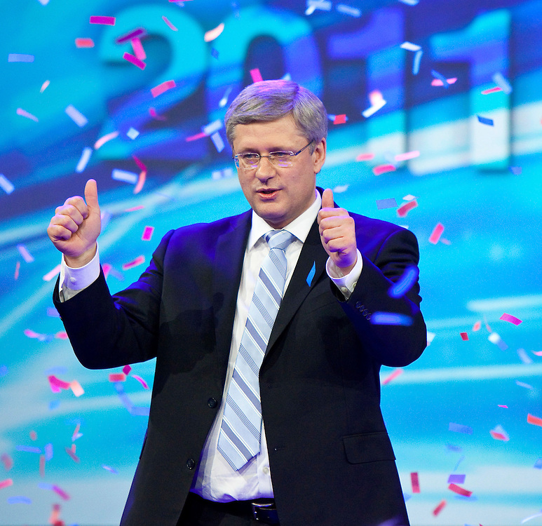 Conservative leader Stephen Harper speaks to supporters gathered at the Telus Convention Centre in Calgary, Alberta, May 2, 2011 following the election of a Conservative majority government in the federal election.<br /> AFP/GEOFF ROBINS/STR