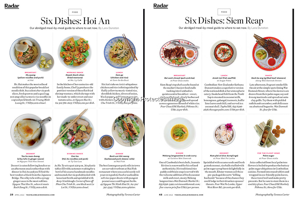 Travel+Leisure Asia. Six Dishes. Delivered deep-etched & drop shadowed.