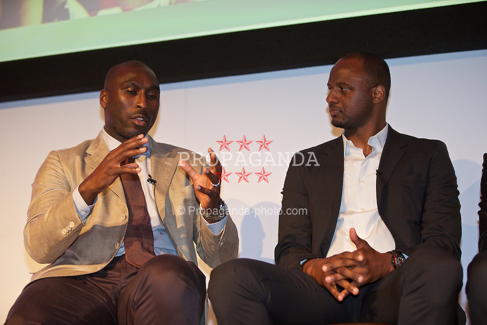 NEWPORT, WALES - Friday, May 29, 2015: Sol Campbell and Thierry Henry during the Football Association of Wales' National Coaches Conference 2015 at the Celtic Manor Resort. (Pic by David Rawcliffe/Propaganda)