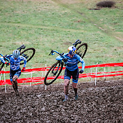 Sunday, Dec. 16, 2018 — Katie Compton and Ellen Noble battle on the first lap of the mostly-muddy course at the 2018 USA Cycling Cyclocross National Championships 18.2 in Louisville, KY. #CXNATS #photopresse.photoshelter.com #CYCLOCROSS #CX #FUJIXPRO2 #FUJIFILM #ELLENNOBLE #ELLENLIKESBIKES #KATIEFNCOMPTON
