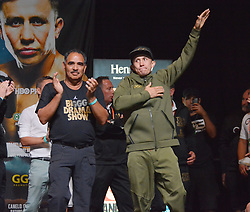 September 15, 2017 - Las Vegas, Nevada, United States of America - WBA, WBO, IBF and IBO Unified Middleweight Boxing champion Gennady Golovkin attends the weigh in ceremony for his championship bout against Canelo Alvarez  on September14, 2017 at the MGM Grand  Garden Arena in Las Vegas, Nevada (Credit Image: © Marcel Thomas via ZUMA Wire)