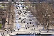 Visitors stroll through Jardin des Tuileries, Paris, France