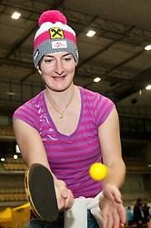 16.10.2010, Olympia Eisstadion, Innsbruck, AUT, OeSV Einkleidung 2010, im Bild Kathrin Zettel spielt Tischtennis, EXPA Pictures © 2010, PhotoCredit: EXPA/ J. Groder