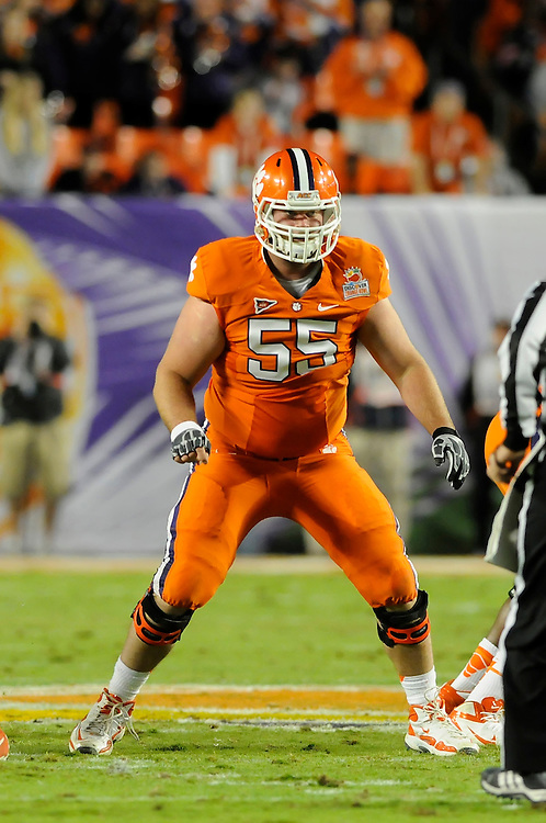 January 4, 2012: Dalton Freeman #55 of Clemson in action during the NCAA football game between the West Virginia Mountaineers and the Clemson Tigers at the 2012 Discover Orange Bowl at Sun Life Stadium in Miami Gardens, Florida.