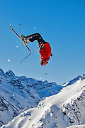 Jeff Annetts floating a backwards flip while skiing at Portillo, Chile on August 24, 2002.