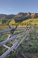 Rustic western pole fence in the Boulder Mountains, Idaho