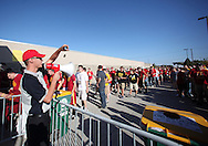 September 10, 2011: A security guard instructs fans before the gates open for the game between the Iowa Hawkeyes and the Iowa State Cyclones during the Iowa Corn Growers Cy-Hawk game at Jack Trice Stadium in Ames, Iowa on Saturday, September 10, 2011. Iowa defeated Iowa State X-X.