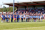 Minutes applause from the Bradford Bulls players during the Kingstone Press Championship match between Batley Bulldogs and Bradford Bulls at the Fox's Biscuits Stadium, Batley, United Kingdom on 16 July 2017. Photo by Simon Davies.
