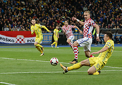 October 9, 2017 - Kiev, Ukraine - Andriy Yarmolenko (R),  of Ukraine in action against Croatian Domagoj Vida (C) during the FIFA 2018 World Cup Group I Qualifier between Ukraine and Croatia at Kiev Olympic Stadium on October 9, 2017 in Kiev, Ukraine. Ukraine fail to reach the play-offs as they lose 2-0. (Credit Image: © Sergii Kharchenko/NurPhoto via ZUMA Press)