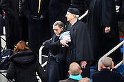 Supreme Court Justice Ruth Bader Ginsberg is escorted by Justice Stephen Breyer during the arrivals for the 68th President Inaugural Ceremony on Capitol Hill January 20, 2017 in Washington, DC. Donald Trump became the 45th President of the United States in the ceremony.