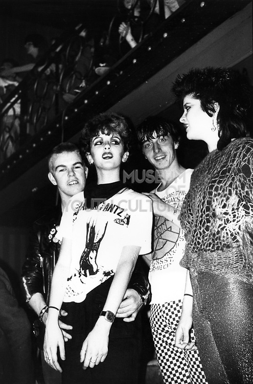 Adam and the Ants punk crowd, Two girls, Two men, UK, 1980's.