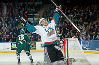 KELOWNA, CANADA - JANUARY 24: Tyrell Goulbourne #12 of Kelowna Rockets celebrates the first goal for the Kelowna Rockets against the Everett Silvertips on January 24, 2015 at Prospera Place in Kelowna, British Columbia, Canada.  (Photo by Marissa Baecker/Shoot the Breeze)  *** Local Caption *** Tyrell Goulbourne;
