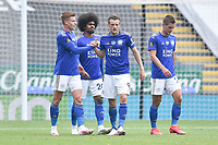 LEICESTER, ENGLAND - JULY 04: Jamie Vardy of Leicester City (2nd from right) celebrates with team mates after scoring his sides second goal and his sides third during the Premier League match between Leicester City and Crystal Palace at The King Power Stadium on July 4, 2020 in Leicester, United Kingdom. Football Stadiums around Europe remain empty due to the Coronavirus Pandemic as Government social distancing laws prohibit fans inside venues resulting in all fixtures being played behind closed doors. (Photo by MB Media)