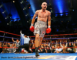 September 29, 2007; Atlantic City, NJ, USA; Kelly Pavlik celebrates his 7th round TKO of Middleweight Champion Jermain Taylor as referee Steve Smoger waves off the bout at Boardwalk Hall in Atlantic City, New Jersey.