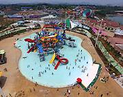 HUZHOU, CHINA - JULY 15: (CHINA OUT) <br /> <br /> Anji Happy Vanko Water Kingdom Opens<br /> <br /> Aerial view of Anji Happy Vanko Water Kingdom on July 15, 2015 in Anji County, Huzhou City, Zhejiang Province of China. Anji Happy Vanko Water Kingdom covering an area of over 240,000 square-meters with more than 40,000 square-meters water area which ranks as the biggest water park in Asia opens on July 15. <br /> ©Exclusivepix Media