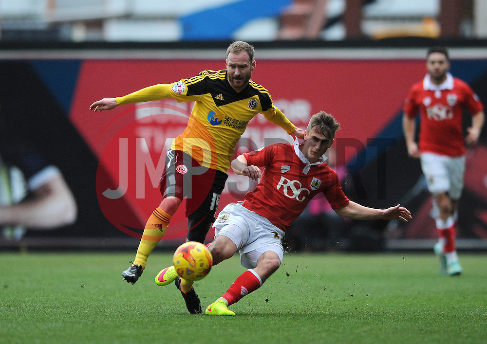 Bristol City's Joe Bryan challenges for the ball with Sheffield United's Matt Done - Photo mandatory by-line: Dougie Allward/JMP - Mobile: 07966 386802 - 14/02/2015 - SPORT - Football - Bristol - Ashton Gate - Bristol City v Sheffield United - Sky Bet League One