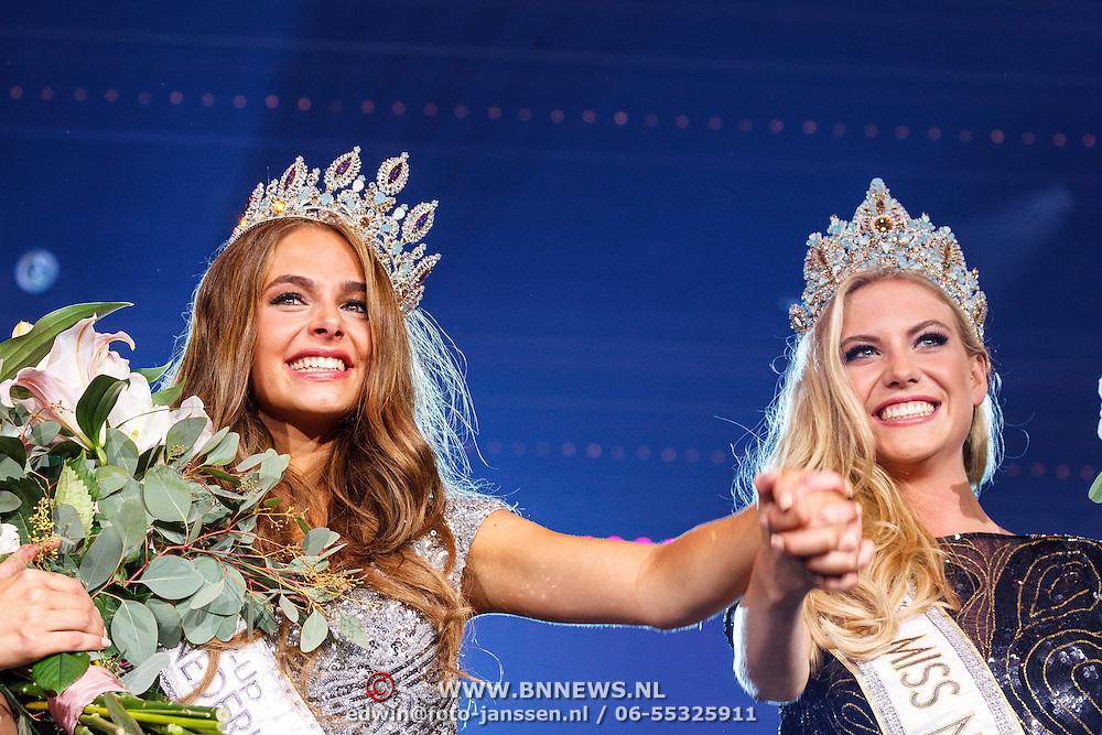 NLD/Hilversum/20150907 - Miss Nederland 2015 verkiezing, 1e runnerup Margot Hanekamp en winnares Jessie Jazz Vuijk