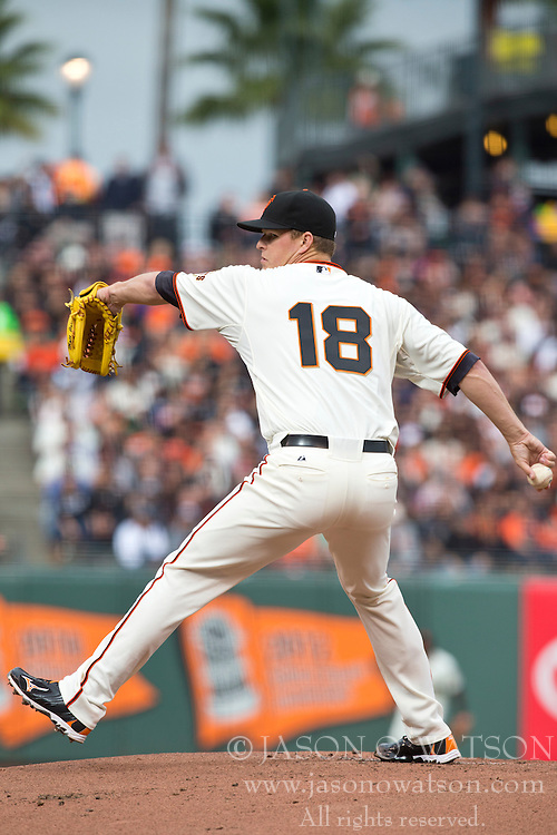 SAN FRANCISCO, CA - MAY 05:  Matt Cain #18 of the San Francisco Giants pitches against the Los Angeles Dodgers during the first inning at AT&T Park on May 5, 2013 in San Francisco, California. (Photo by Jason O. Watson/Getty Images) *** Local Caption *** Matt Cain