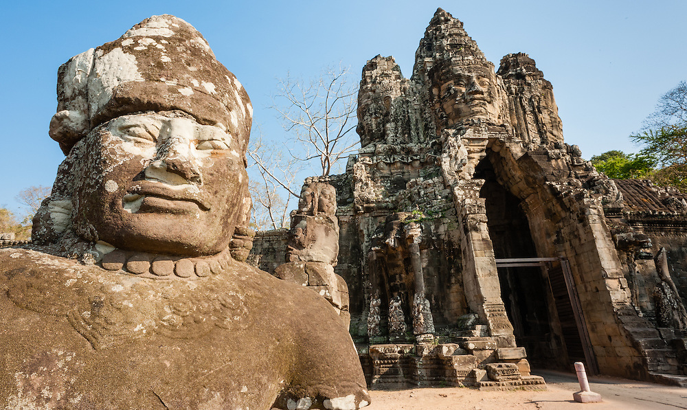 Angkor warrior and temple gate (Cambodia)