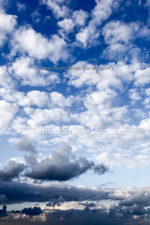 Cumulus Cloudscape white clouds in blue sky background