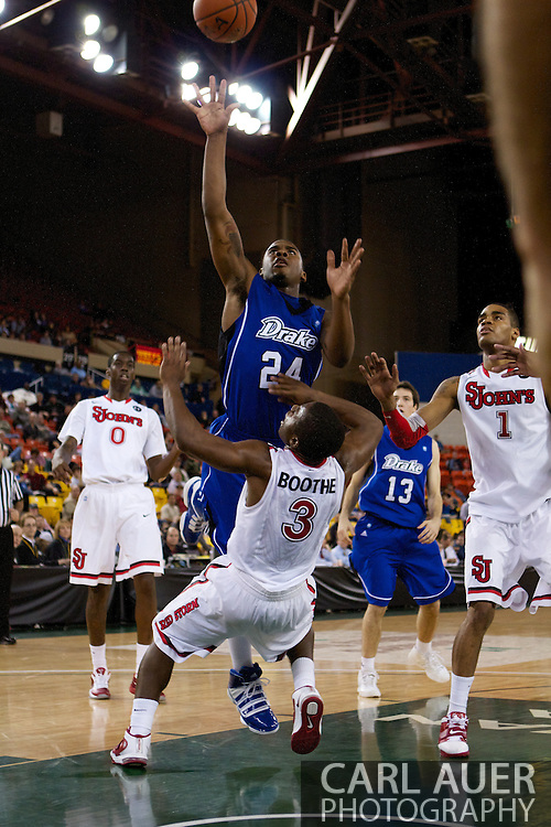 November 26th, 2010:  Anchorage, Alaska - Drake Bulldog freshman guard Rayvonte Rice (24) elevates in the lane for a shot in the Bulldog's loss to St. Johns at the Great Alaska Shootout.  The Red Storm defense held Drake to a tournament low score as St. Johns advanced to the final game 82-39.