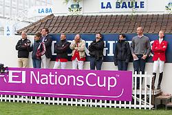 Team Belgium :<br /> Chef d'equipe Philippe Guerdat,  Dirk Demeersman, Niels Bruynseels, François Mathy jr, Eve Giron<br /> Derby de La Baule 2012<br /> © Dirk Caremans