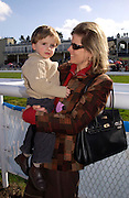 Katarina Saunders and her son Nicholas. Ludlow Charity Race Day,  in aid of Action Medical Research. Ludlow racecourse. 24 march 2005. ONE TIME USE ONLY - DO NOT ARCHIVE  © Copyright Photograph by Dafydd Jones 66 Stockwell Park Rd. London SW9 0DA Tel 020 7733 0108 www.dafjones.com