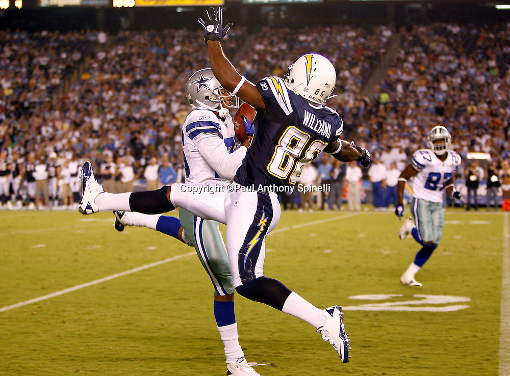 Dallas Cowboys cornerback Cletis Gordon (26) intercepts a fourth quarter pass intended for San Diego Chargers wide receiver Jeremy Williams (86) during a NFL week 2 preseason football game against the San Diego Chargers on Saturday, August 21, 2010 in San Diego, California. The Cowboys won the game 16-14. (©Paul Anthony Spinelli)