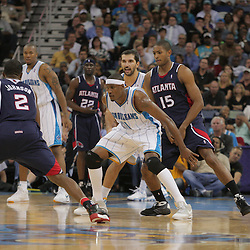 05 November 2008:  New Orleans Hornets forward James Posey (41) blocks out Atlanta Hawks center Al Horford (15) during a 87-79 victory by the Atlanta Hawks over the New Orleans Hornets at the New Orleans Arena in New Orleans, LA..