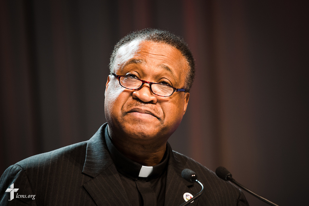 "The Rev. Dr. Roosevelt Gray Jr., one of five essayists at the 66th Regular Convention of The Lutheran Church—Missouri Synod, addresses delegates and guests on Monday, July 11, in Milwaukee. Repentance and forgiveness, grace and mercy, hope and healing, all go hand in hand, Gray said, and faith in Jesus Christ gives ""reason for hope,"" even in anxious times. LCMS/Michael Schuermann"