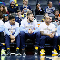 04 March 2016: Denver Nuggets center Jusuf Nurkic (23), Denver Nuggets small forward Axel Toupane, Denver Nuggets center Joffrey Lauvergne (77), Denver Nuggets guard Jameer Nelson (1), Denver Nuggets guard D.J. Augustin (12) are seen on the bench during the Brooklyn Nets 121-120 victory over the Denver Nuggets, at the Pepsi Center, Denver, Colorado, USA.