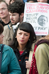 Female demonstrator Demonstration starting at Devonshire Green Sheffield before moving through Sheffield City Centre to Barkers Pool outside Sheffield city Hall where the Liberal Democrats are holding their Party conference Conference Sheffield Saturday.12 March 2011.Images © Paul David Drabble