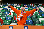 Netherlands fan ahead of the UEFA European 2020 Qualifier match between Northern Ireland and Netherlands at National Football Stadium, Windsor Park, Northern Ireland on 16 November 2019.